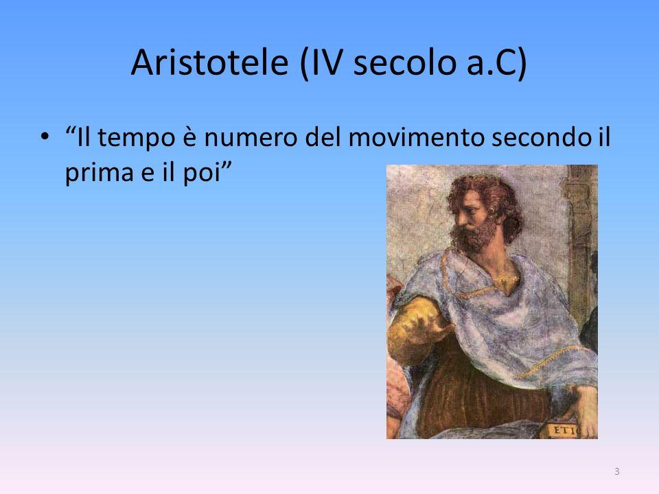 3 Aristotele (IV secolo a.C) Il tempo è numero del movimento secondo il prima e il poi