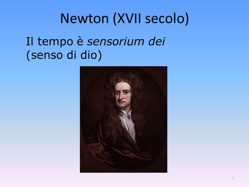 7 Il tempo è sensorium dei (senso di dio) Newton (XVII secolo)