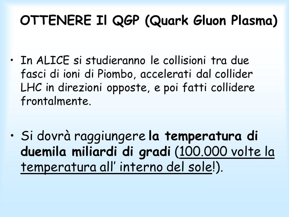 OTTENERE Il QGP (Quark Gluon Plasma) Per ottenere il QGP si dovranno scegliere come proiettili degli ioni (nuclei privi di elettroni) pesanti, cioè contenenti molti protoni e neutroni (e dunque molti quark e gluoni).