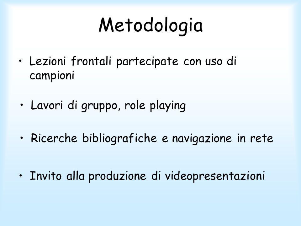 Metodologia Lezioni frontali partecipate con uso di campioni Lavori di gruppo, role playing Invito alla produzione di videopresentazioni Ricerche bibliografiche e navigazione in rete