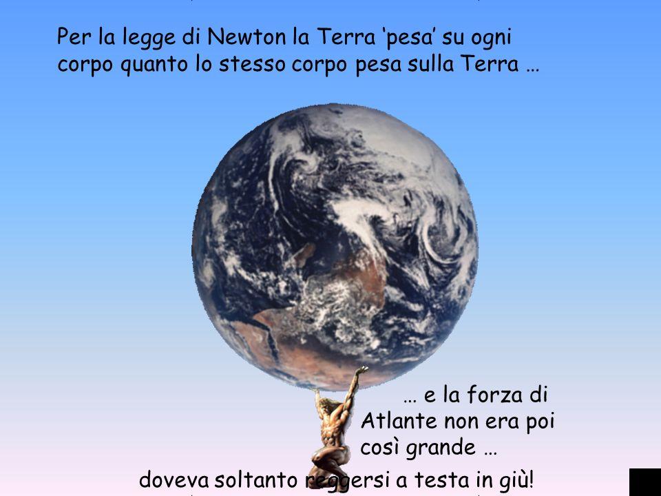 Per la legge di Newton la Terra pesa su ogni corpo quanto lo stesso corpo pesa sulla Terra … … e la forza di Atlante non era poi così grande … doveva