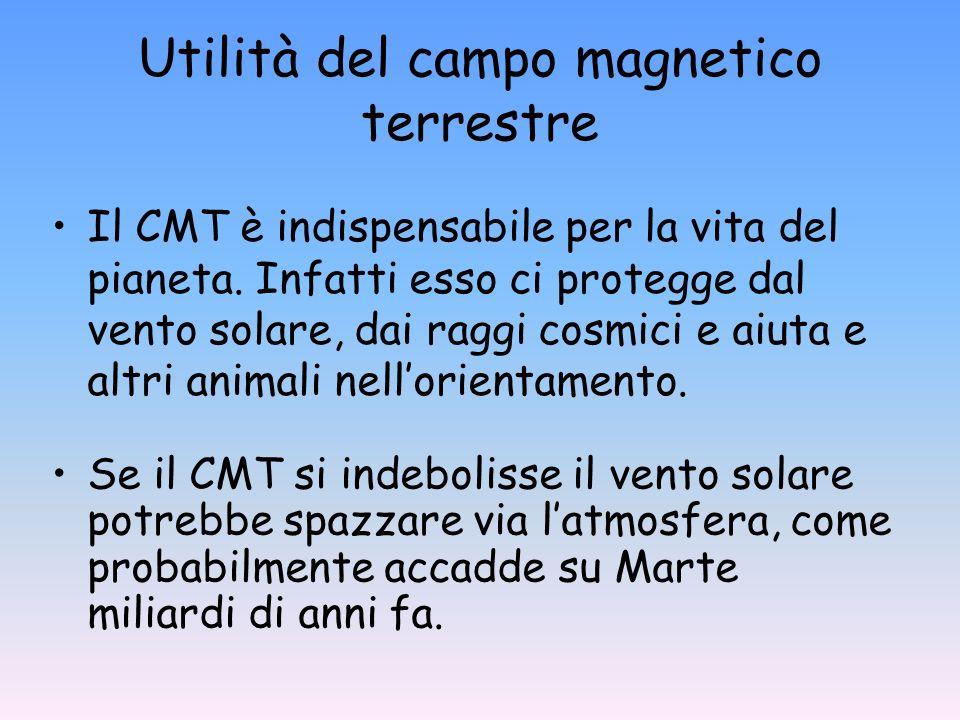 Utilità del campo magnetico terrestre Il CMT è indispensabile per la vita del pianeta. Infatti esso ci protegge dal vento solare, dai raggi cosmici e
