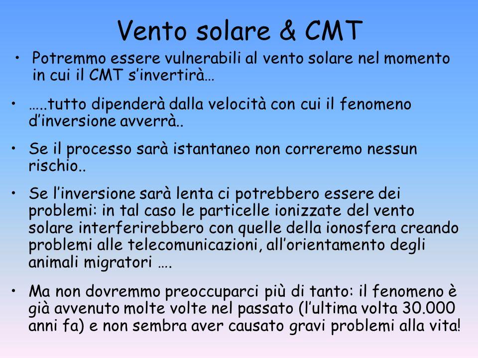 Vento solare & CMT Potremmo essere vulnerabili al vento solare nel momento in cui il CMT sinvertirà… …..tutto dipenderà dalla velocità con cui il feno