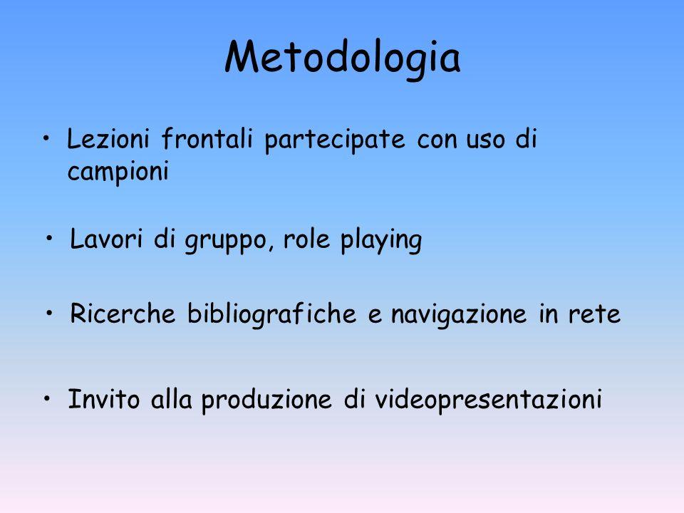 Metodologia Lezioni frontali partecipate con uso di campioni Lavori di gruppo, role playing Invito alla produzione di videopresentazioni Ricerche bibl