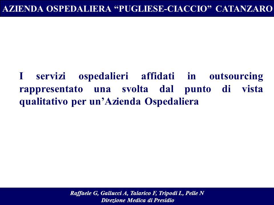 I servizi ospedalieri affidati in outsourcing rappresentato una svolta dal punto di vista qualitativo per unAzienda Ospedaliera AZIENDA OSPEDALIERA PU