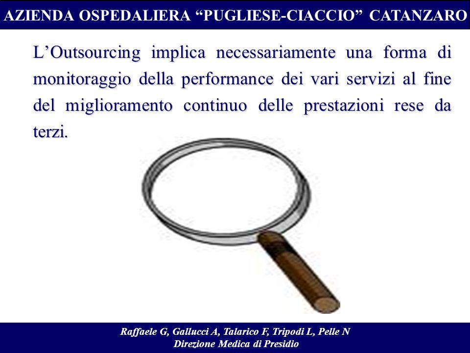 LOutsourcing implica necessariamente una forma di monitoraggio della performance dei vari servizi al fine del miglioramento continuo delle prestazioni