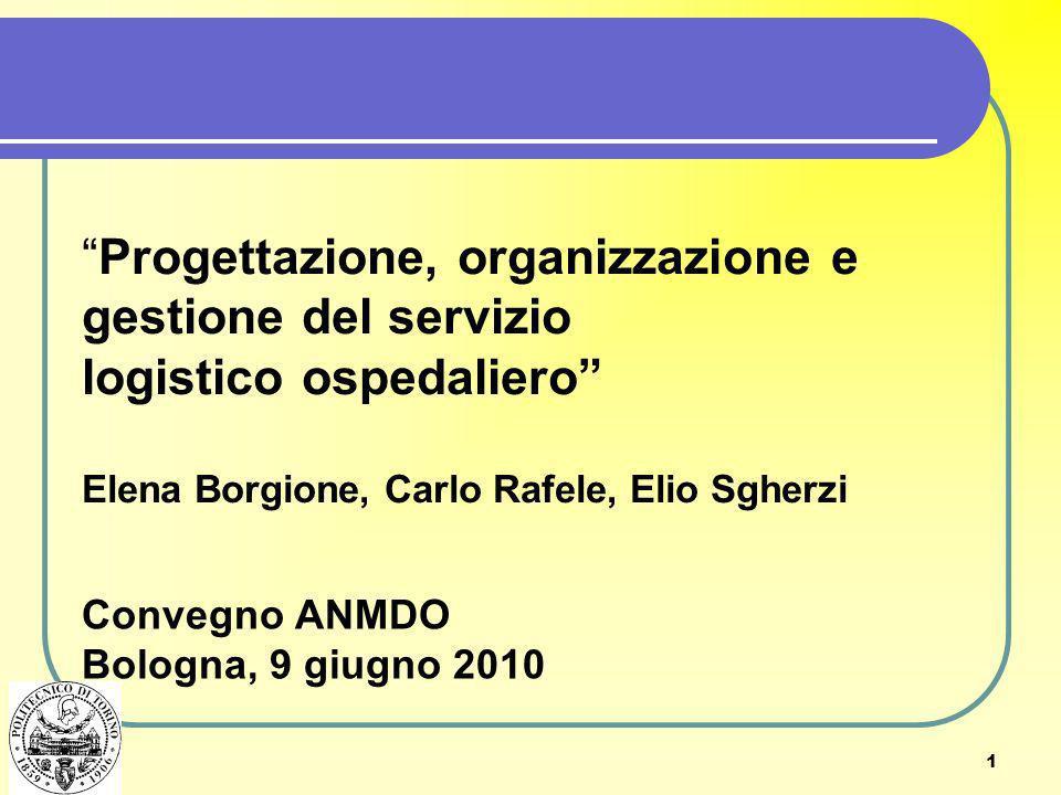 1 Progettazione, organizzazione e gestione del servizio logistico ospedaliero Elena Borgione, Carlo Rafele, Elio Sgherzi Convegno ANMDO Bologna, 9 giu