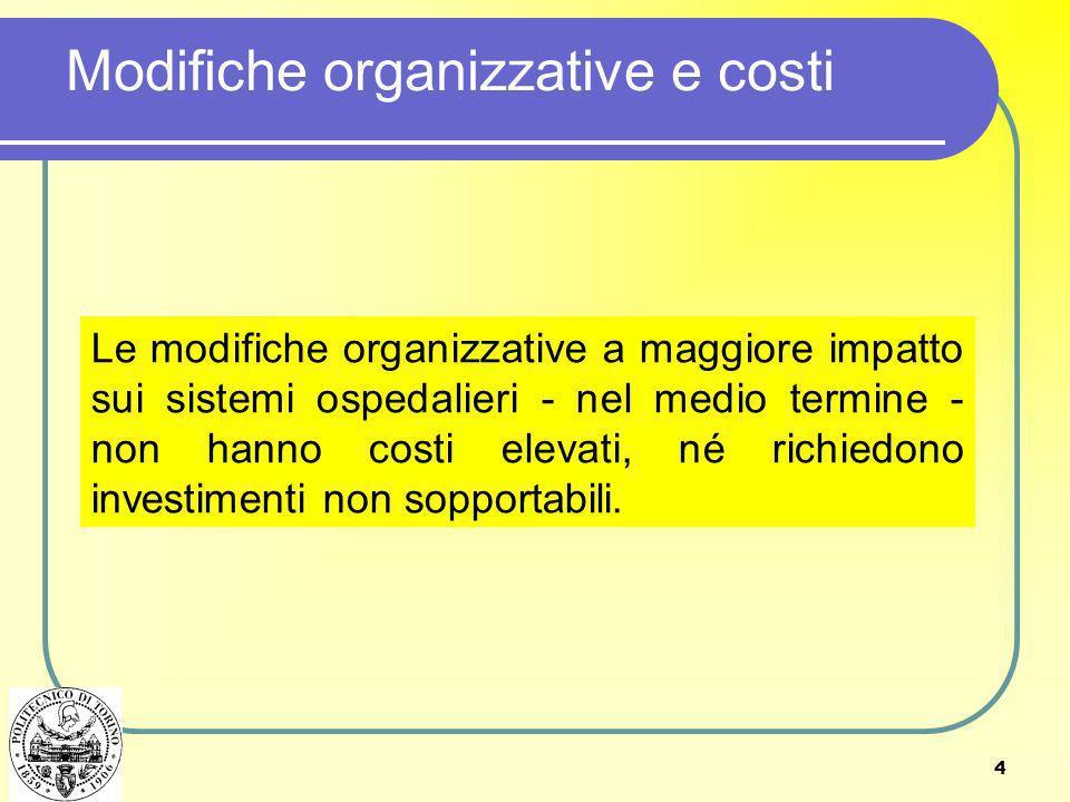 4 Modifiche organizzative e costi Le modifiche organizzative a maggiore impatto sui sistemi ospedalieri - nel medio termine - non hanno costi elevati,