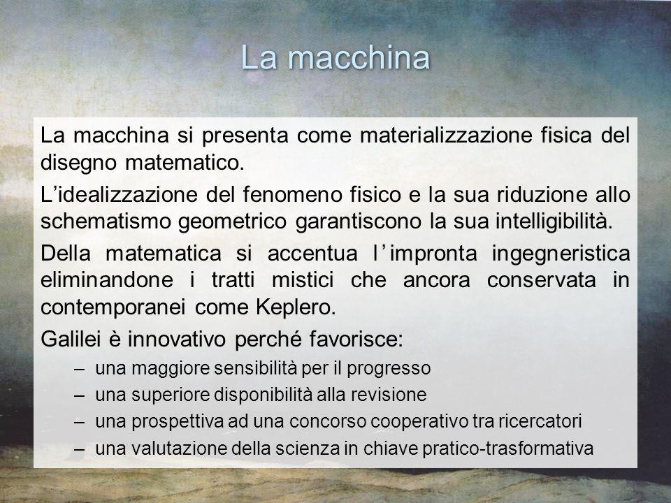 La macchina La macchina si presenta come materializzazione fisica del disegno matematico. Lidealizzazione del fenomeno fisico e la sua riduzione allo