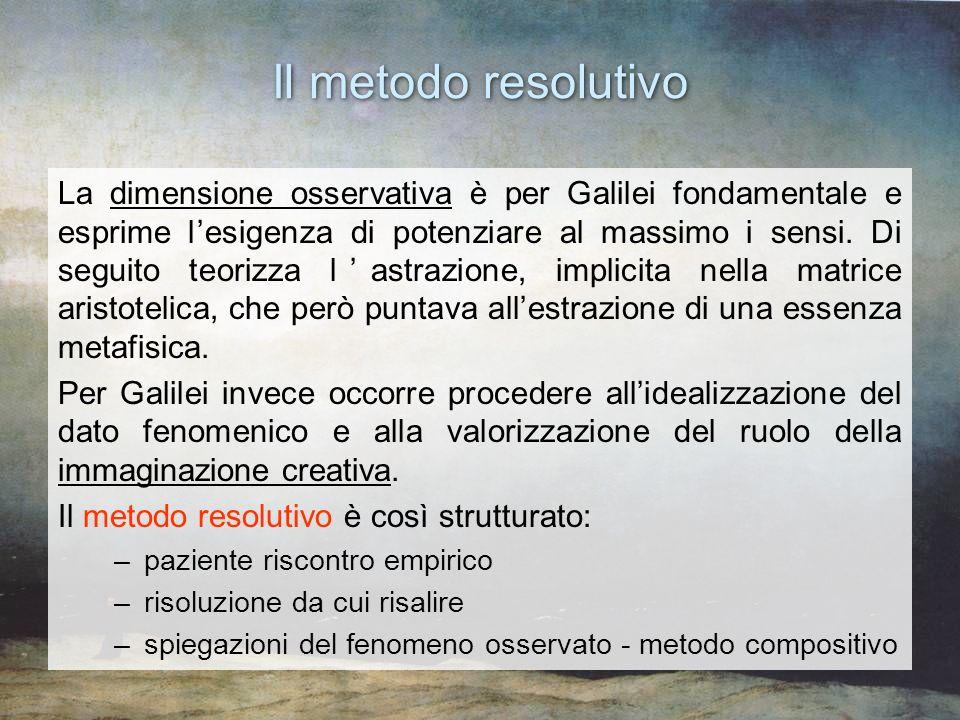 La dimensione osservativa è per Galilei fondamentale e esprime lesigenza di potenziare al massimo i sensi. Di seguito teorizza lastrazione, implicita