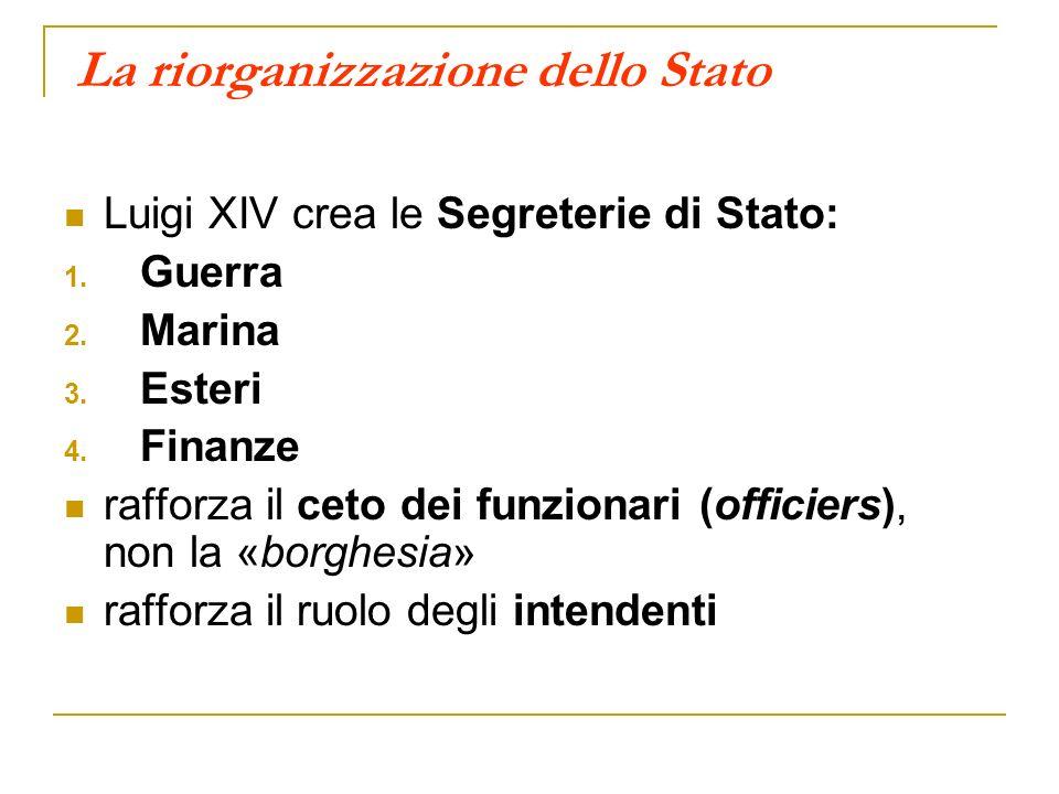 La riorganizzazione dello Stato Luigi XIV crea le Segreterie di Stato: 1. Guerra 2. Marina 3. Esteri 4. Finanze rafforza il ceto dei funzionari (offic