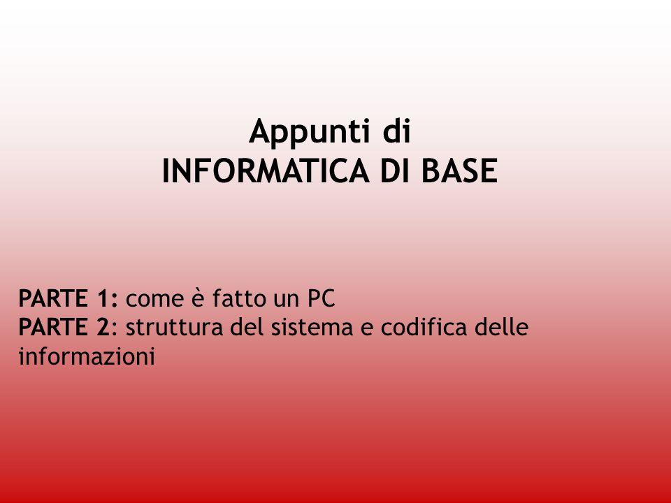 Appunti di INFORMATICA DI BASE PARTE 1: come è fatto un PC PARTE 2: struttura del sistema e codifica delle informazioni