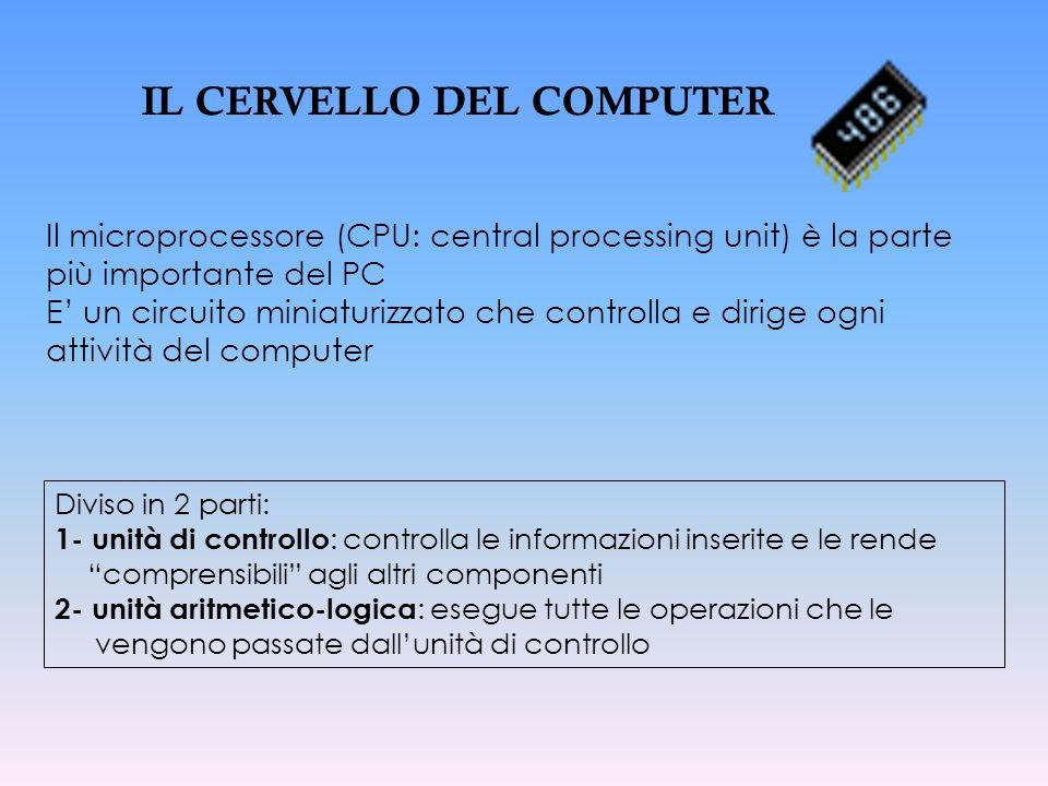 Il microprocessore (CPU: central processing unit) è la parte più importante del PC E un circuito miniaturizzato che controlla e dirige ogni attività d