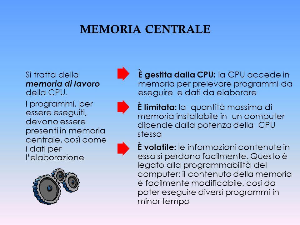 MEMORIA CENTRALE Si tratta della memoria di lavoro della CPU. I programmi, per essere eseguiti, devono essere presenti in memoria centrale, così come
