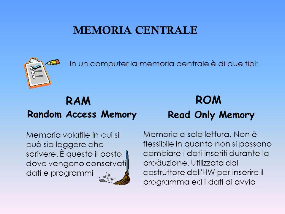 MEMORIA CENTRALE In un computer la memoria centrale è di due tipi: Memoria volatile in cui si può sia leggere che scrivere. È questo il posto dove ven