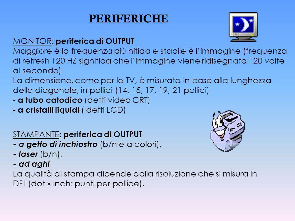 MONITOR: periferica di OUTPUT Maggiore è la frequenza più nitida e stabile è limmagine (frequenza di refresh 120 HZ significa che limmagine viene ridi