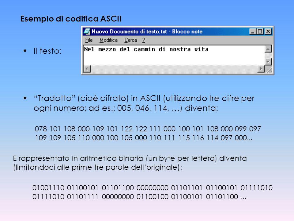 Esempio di codifica ASCII Il testo: Tradotto (cioè cifrato) in ASCII (utilizzando tre cifre per ogni numero; ad es.: 005, 046, 114, …) diventa: 078 10