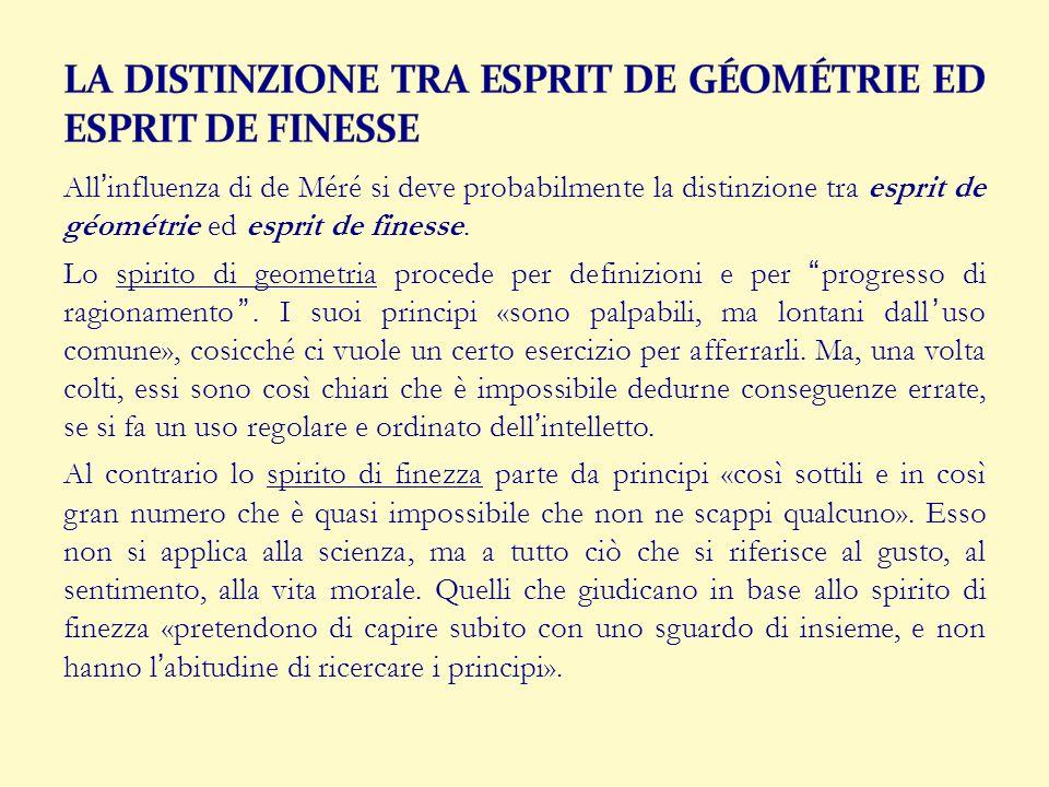 Allinfluenza di de Méré si deve probabilmente la distinzione tra esprit de géométrie ed esprit de finesse. Lo spirito di geometria procede per definiz