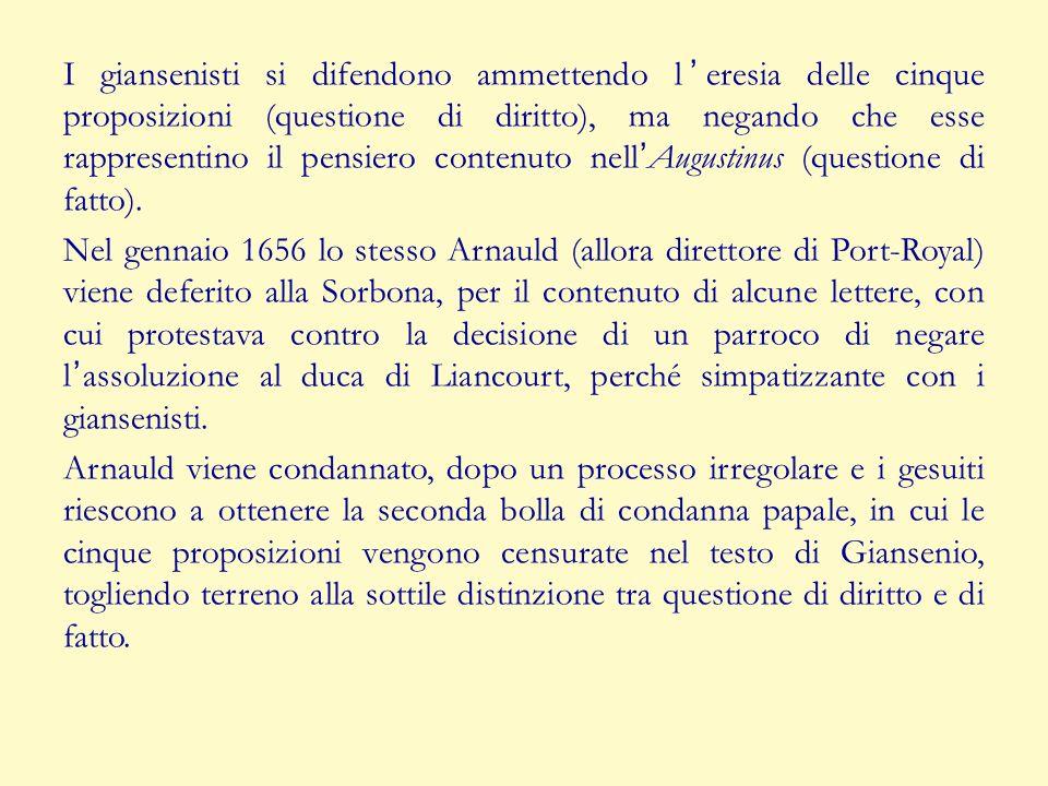 I giansenisti si difendono ammettendo leresia delle cinque proposizioni (questione di diritto), ma negando che esse rappresentino il pensiero contenut