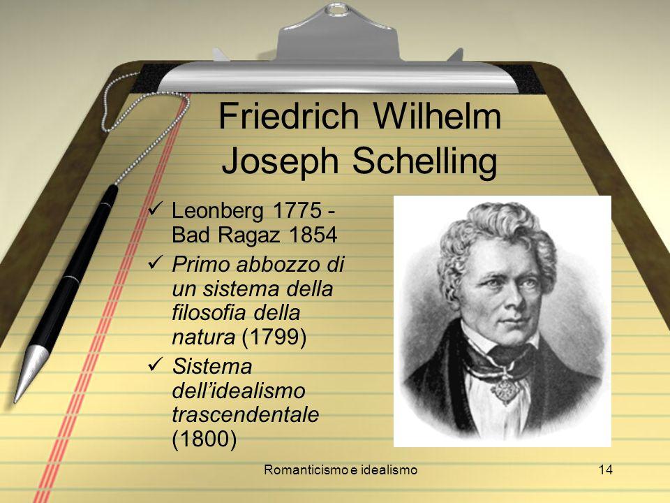 Romanticismo e idealismo14 Friedrich Wilhelm Joseph Schelling Leonberg 1775 - Bad Ragaz 1854 Primo abbozzo di un sistema della filosofia della natura
