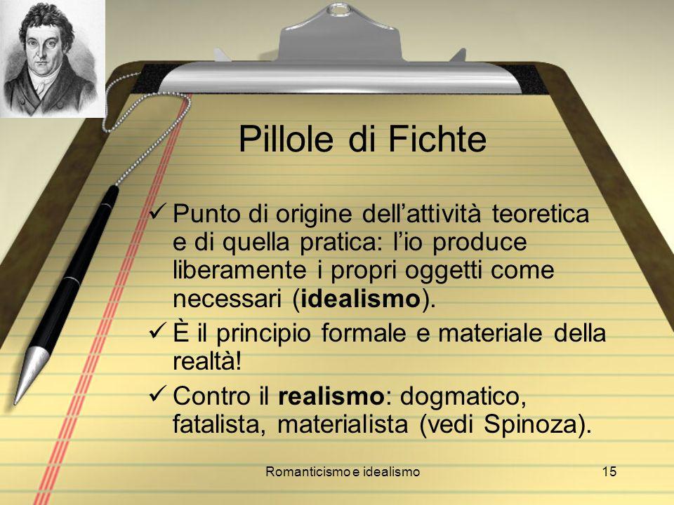Romanticismo e idealismo15 Pillole di Fichte Punto di origine dellattività teoretica e di quella pratica: lio produce liberamente i propri oggetti com
