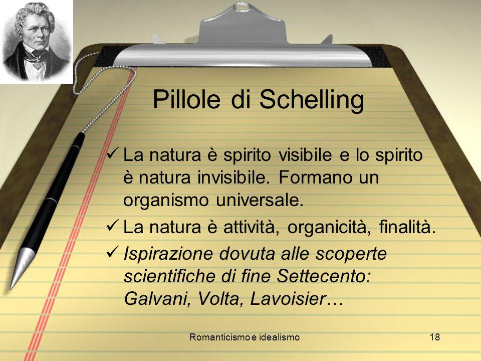Romanticismo e idealismo18 Pillole di Schelling La natura è spirito visibile e lo spirito è natura invisibile. Formano un organismo universale. La nat