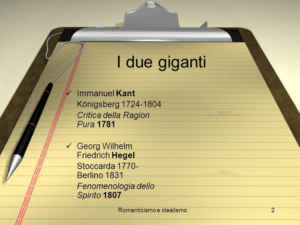 Romanticismo e idealismo13 Johann Gottlieb Fichte Rammenau 1762 - Berlino 1814 Fondamenti dellintera dottrina della scienza (1794) Lezioni sulla missione del dotto (1794)