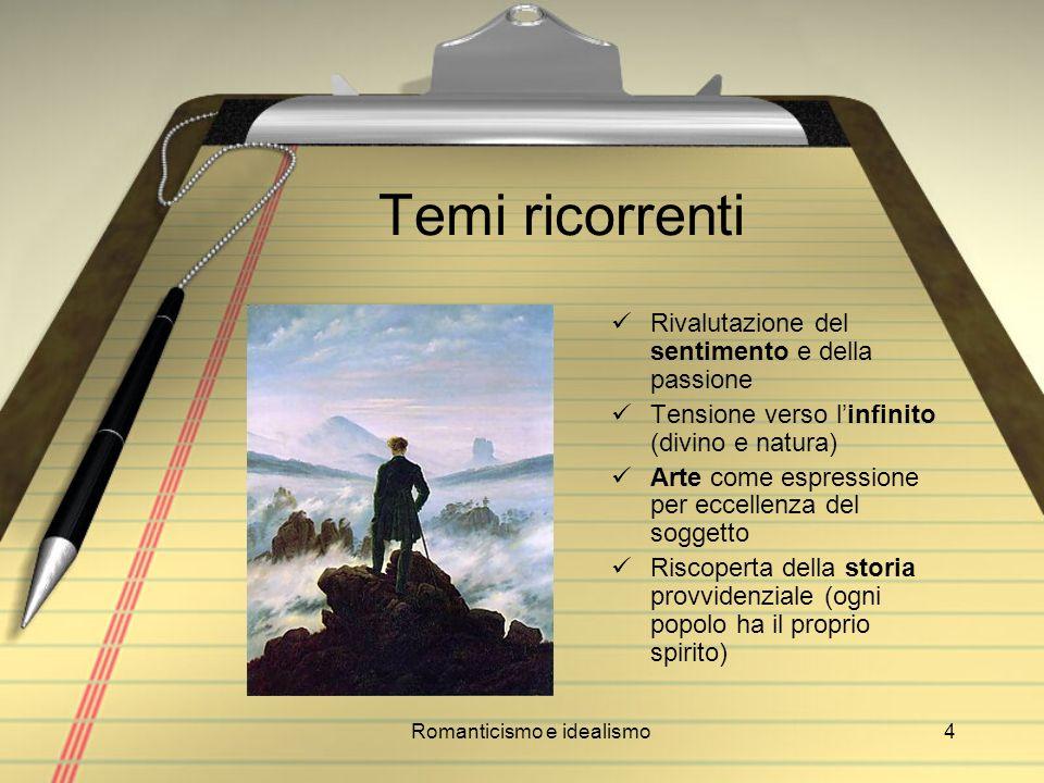 Romanticismo e idealismo4 Temi ricorrenti Rivalutazione del sentimento e della passione Tensione verso linfinito (divino e natura) Arte come espressio