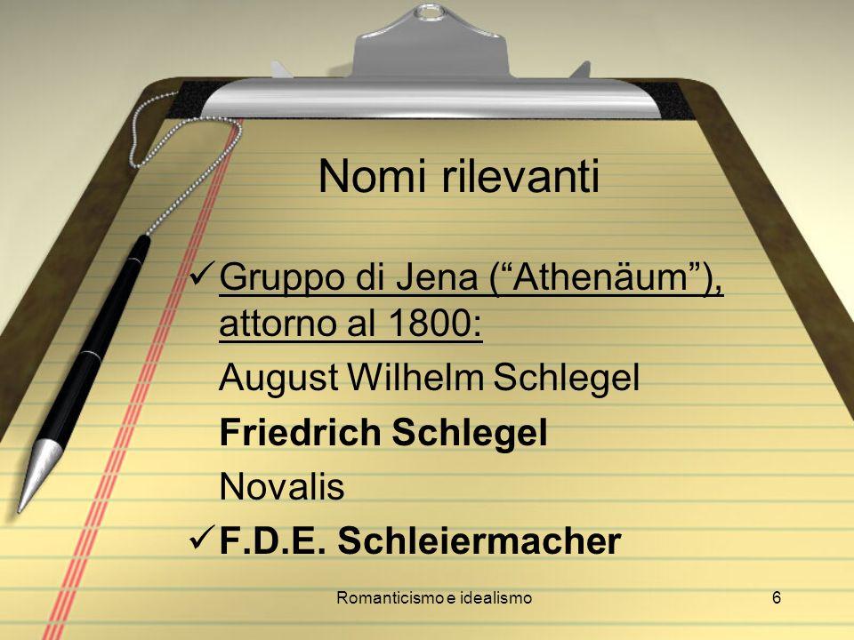 Romanticismo e idealismo6 Nomi rilevanti Gruppo di Jena (Athenäum), attorno al 1800: August Wilhelm Schlegel Friedrich Schlegel Novalis F.D.E. Schleie