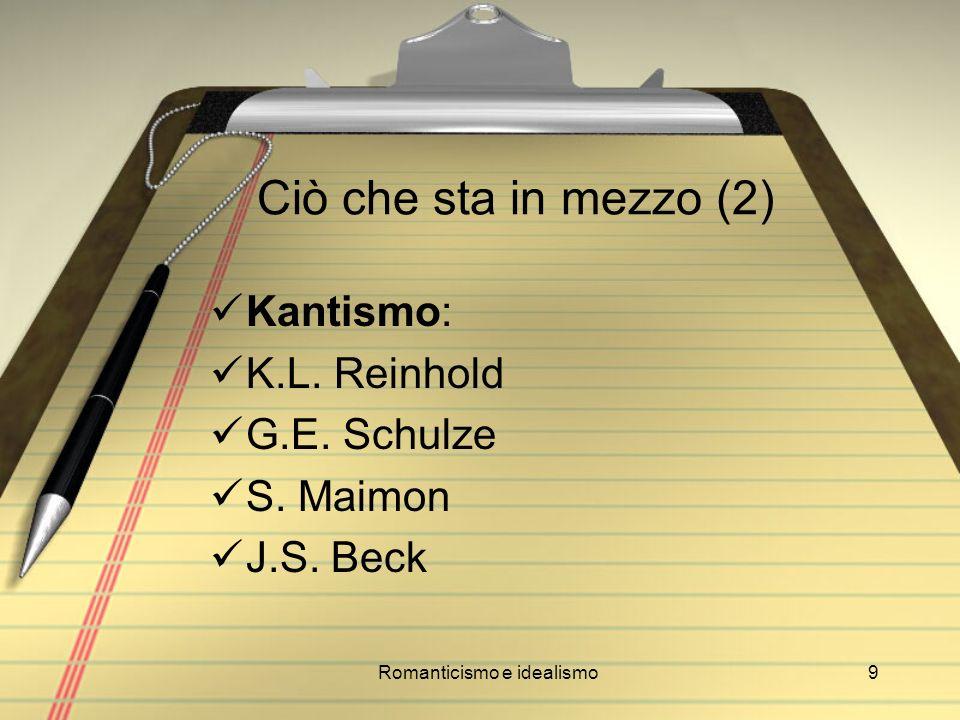 Romanticismo e idealismo9 Ciò che sta in mezzo (2) Kantismo: K.L. Reinhold G.E. Schulze S. Maimon J.S. Beck
