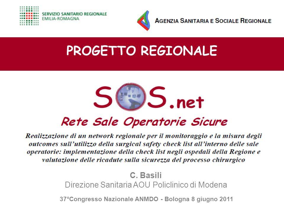 PROGETTO REGIONALE C. Basili Direzione Sanitaria AOU Policlinico di Modena 37°Congresso Nazionale ANMDO - Bologna 8 giugno 2011