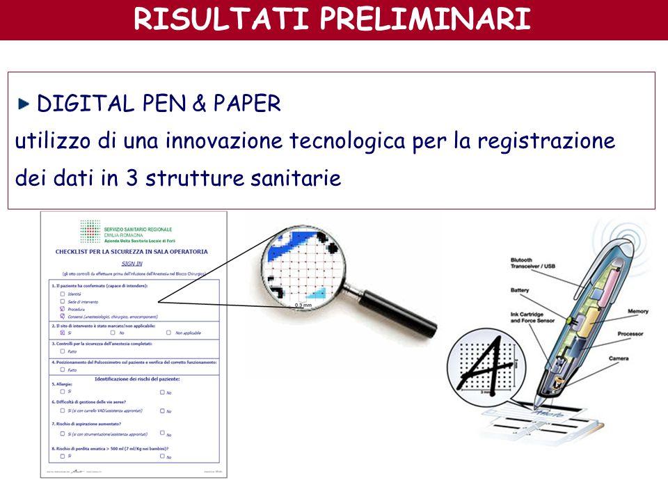 RISULTATI PRELIMINARI DIGITAL PEN & PAPER utilizzo di una innovazione tecnologica per la registrazione dei dati in 3 strutture sanitarie