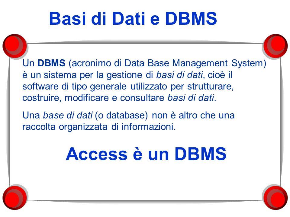 Basi di Dati e DBMS Un DBMS (acronimo di Data Base Management System) è un sistema per la gestione di basi di dati, cioè il software di tipo generale