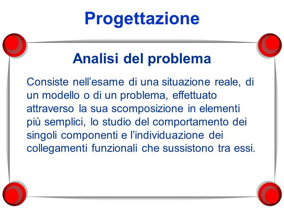 Progettazione Analisi del problema Consiste nellesame di una situazione reale, di un modello o di un problema, effettuato attraverso la sua scomposizi