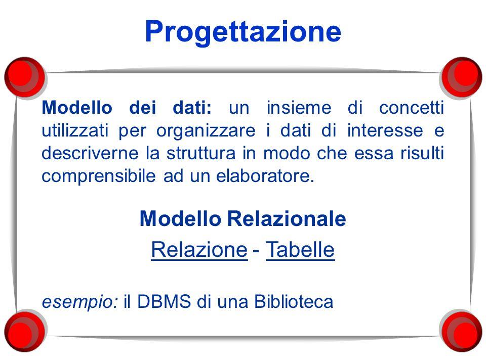 Progettazione Modello dei dati: un insieme di concetti utilizzati per organizzare i dati di interesse e descriverne la struttura in modo che essa risu