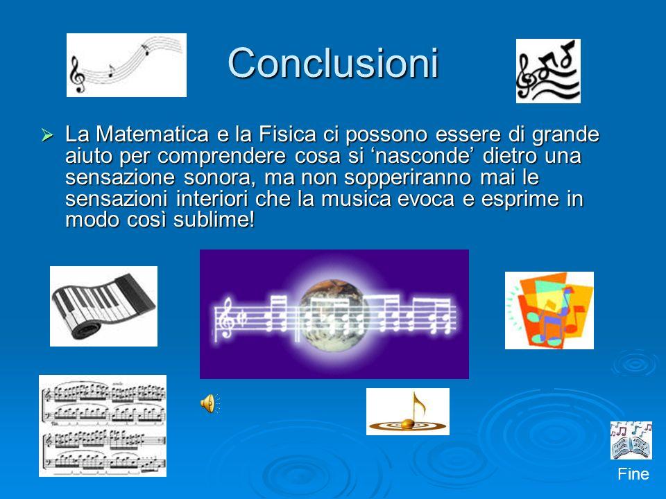 Conclusioni La Matematica e la Fisica ci possono essere di grande aiuto per comprendere cosa si nasconde dietro una sensazione sonora, ma non sopperir