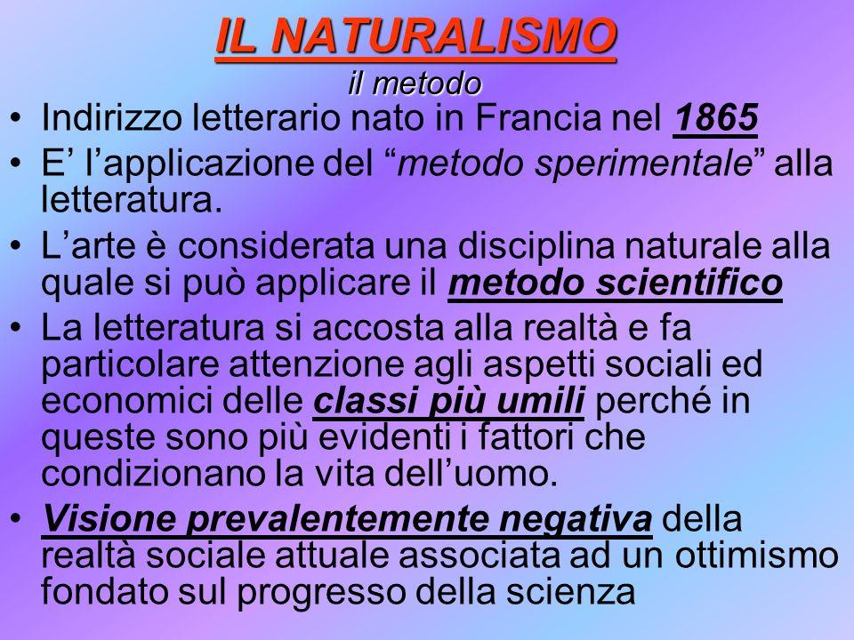 IL NATURALISMO il metodo Indirizzo letterario nato in Francia nel 1865 E lapplicazione del metodo sperimentale alla letteratura. Larte è considerata u