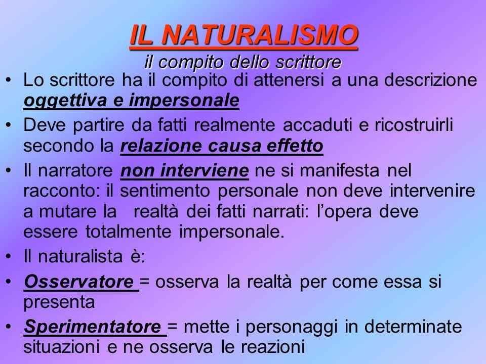 IL NATURALISMO il compito dello scrittore Lo scrittore ha il compito di attenersi a una descrizione oggettiva e impersonale Deve partire da fatti real