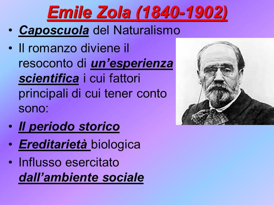 Emile Zola (1840-1902) Caposcuola del Naturalismo Il romanzo diviene il resoconto di unesperienza scientifica i cui fattori principali di cui tener co