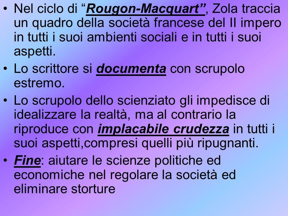 Nel ciclo di Rougon-Macquart, Zola traccia un quadro della società francese del II impero in tutti i suoi ambienti sociali e in tutti i suoi aspetti.