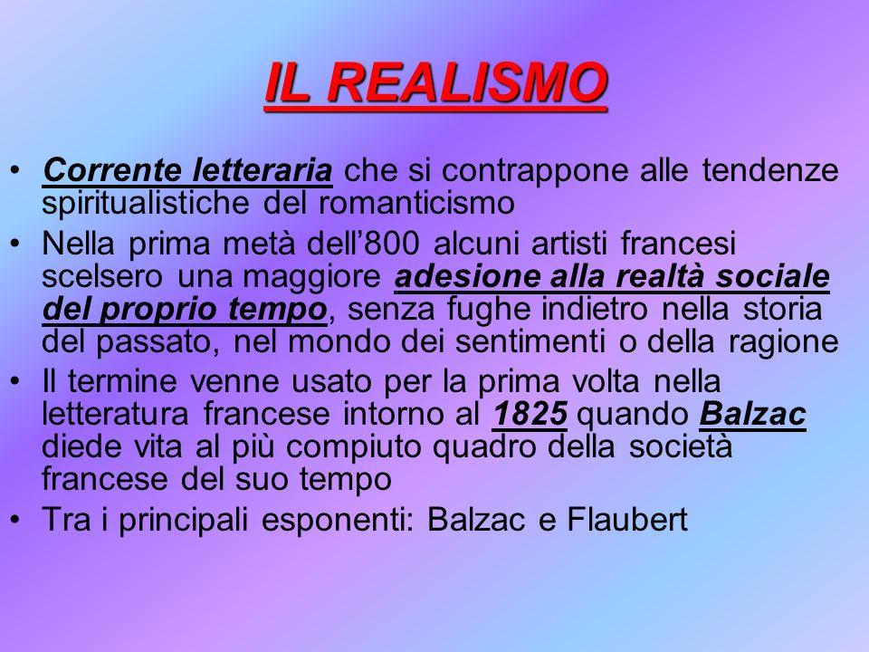 IL REALISMO Corrente letteraria che si contrappone alle tendenze spiritualistiche del romanticismo Nella prima metà dell800 alcuni artisti francesi sc