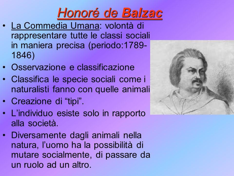 Honoré de Balzac La Commedia Umana: volontà di rappresentare tutte le classi sociali in maniera precisa (periodo:1789- 1846) Osservazione e classifica