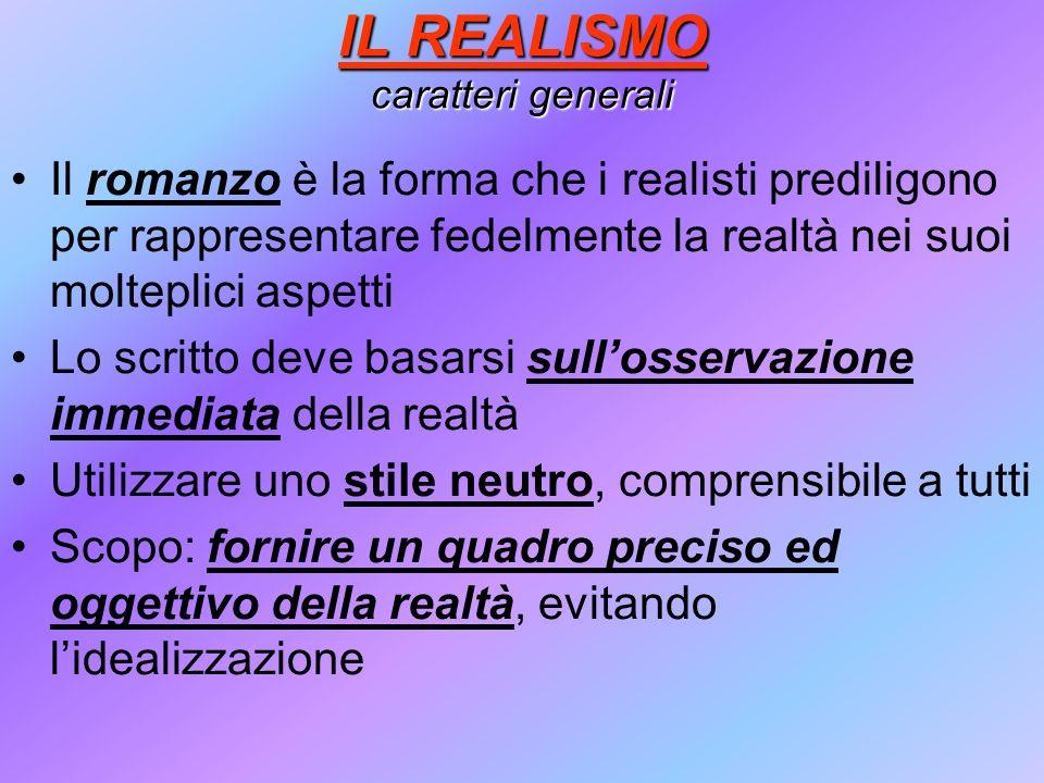 IL REALISMO caratteri generali Il romanzo è la forma che i realisti prediligono per rappresentare fedelmente la realtà nei suoi molteplici aspetti Lo
