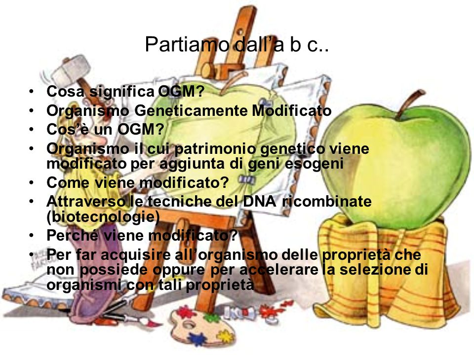 Partiamo dalla b c.. Cosa significa OGM? Organismo Geneticamente Modificato Cosè un OGM? Organismo il cui patrimonio genetico viene modificato per agg