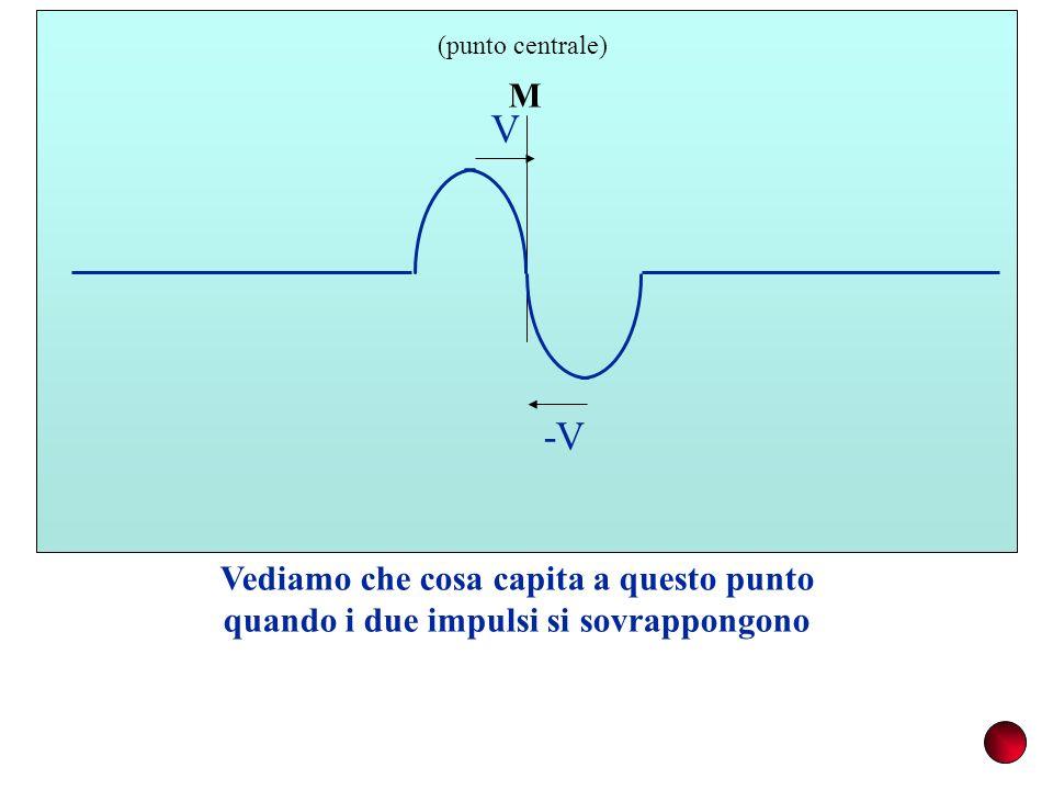 M (punto centrale) Vediamo che cosa capita a questo punto quando i due impulsi si sovrappongono V -V