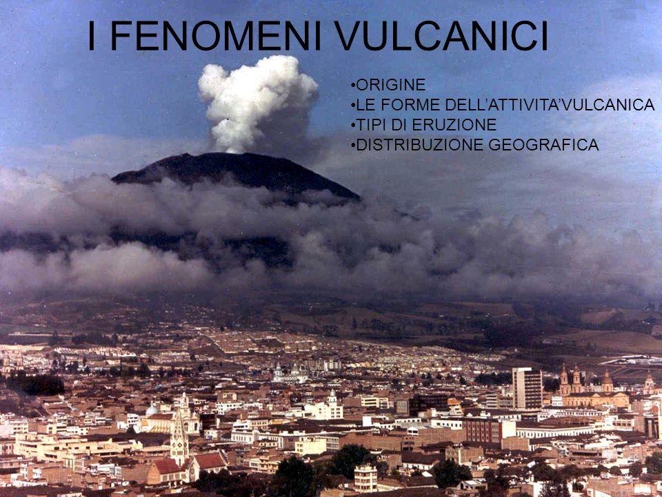 ORIGINE il vulcanesimo è la manifestazione superficiale di attività che avvengono in profondità, legate alla formazione di camere magmatiche che alimentano lattività superficiale.