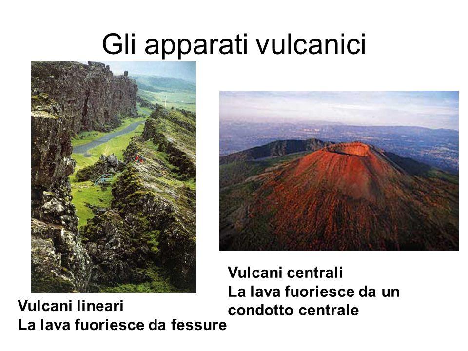 Gli apparati vulcanici Vulcani lineari La lava fuoriesce da fessure Vulcani centrali La lava fuoriesce da un condotto centrale
