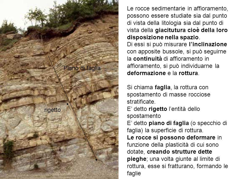 Le rocce sedimentarie in affioramento, possono essere studiate sia dal punto di vista della litologia sia dal punto di vista della giacitutura cioè de