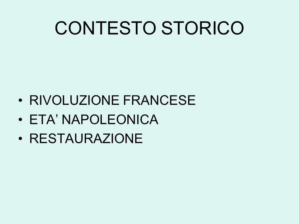 CONTESTO STORICO RIVOLUZIONE FRANCESE ETA NAPOLEONICA RESTAURAZIONE