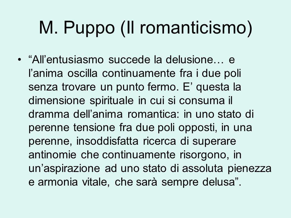 M. Puppo (Il romanticismo) Allentusiasmo succede la delusione… e lanima oscilla continuamente fra i due poli senza trovare un punto fermo. E questa la